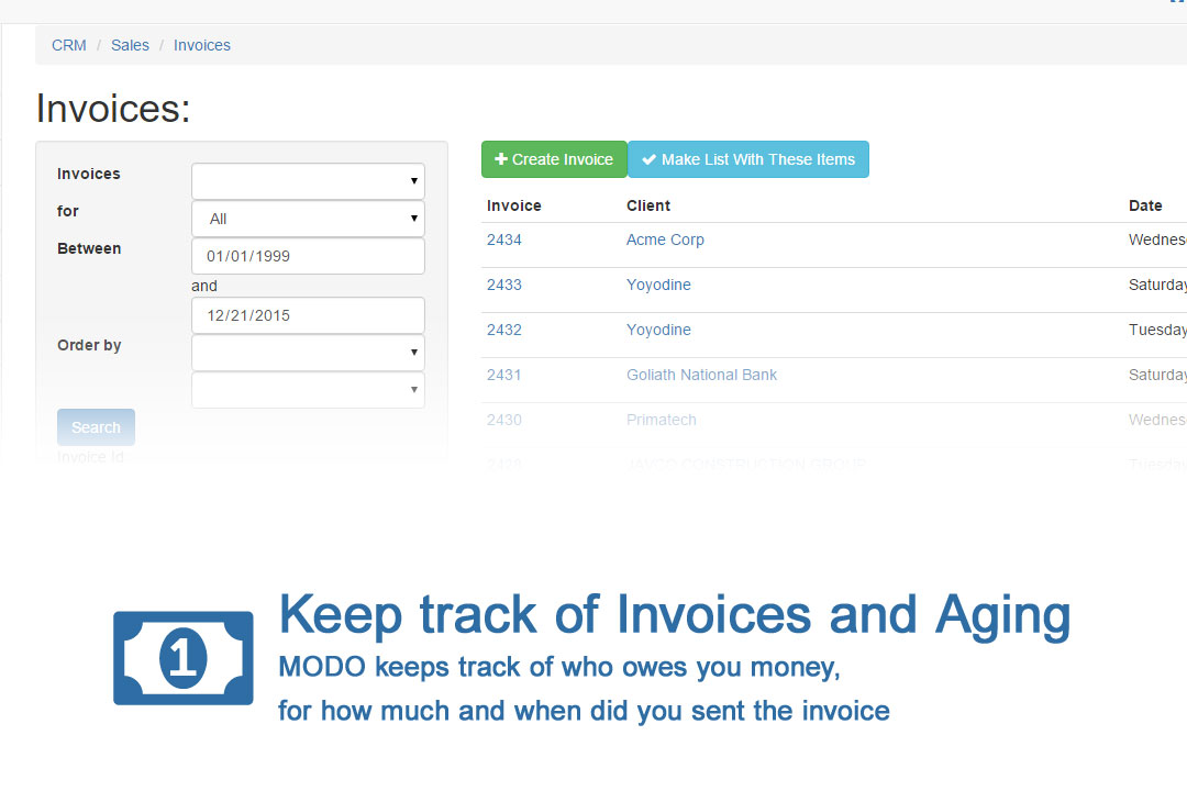 keep track of invoices and aging