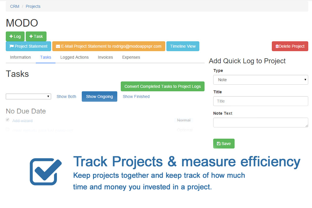 track projects & measure productivity